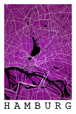 Hamburg Digital Art - Hamburg Street Map - Hamburg Germany Road Map Art On Colored Bac by Jurq Studio