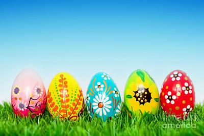 Celebrate Photograph - Handmade Easter Eggs On Grass by Michal Bednarek