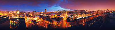 Montreal Cityscapes Photograph - High Angle View Of A City Lit by Panoramic Images
