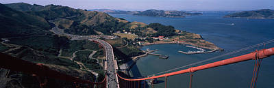 Birds Eye View Photograph - High Angle View Of A Suspension Bridge by Panoramic Images