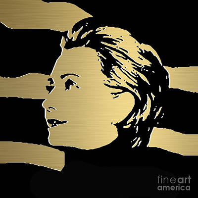 Hillary Mixed Media - Hillary Clinton Gold Series by Marvin Blaine