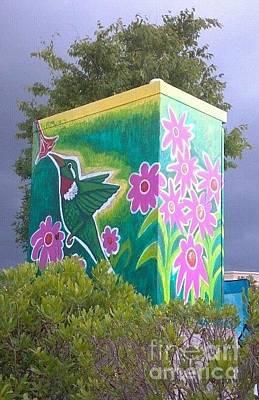 Hummingbird Painting - Hummingbird Traffic Signal Box by Genevieve Esson