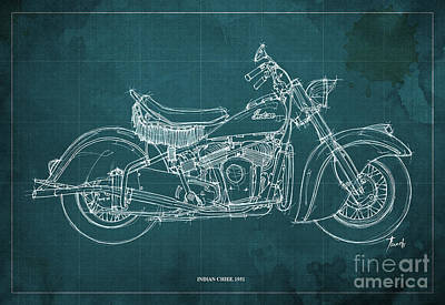 Motorcycle Drawing - Indian Chief 1951 by Pablo Franchi
