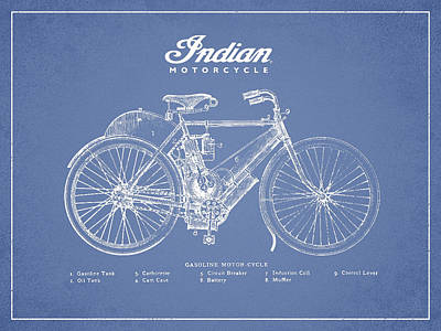 Motorcycle Digital Art - Indian Motorcycle by Aged Pixel