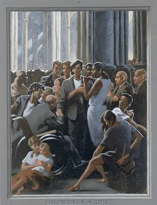 Via Dolorosa Painting - 4. Jesus Preaches In The Temple / From The Passion Of Christ - A Gay Vision by Douglas Blanchard
