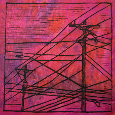 Powerlines Drawing - Lines by William Cauthern