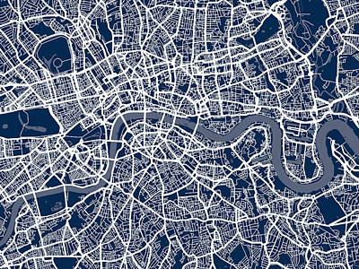 Show Digital Art - London England Street Map by Michael Tompsett