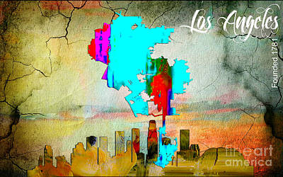 City Skyline Mixed Media - Los Angeles Map And Skyline by Marvin Blaine