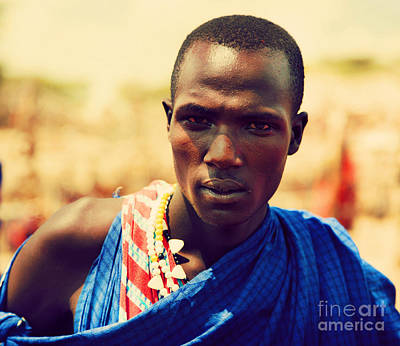Maasai Man Portrait In Tanzania Print by Michal Bednarek