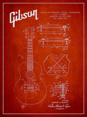 Bass Digital Art - Mccarty Gibson Stringed Instrument Patent Drawing From 1969 - Red by Aged Pixel