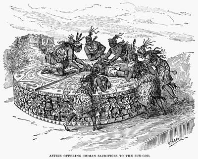 Worship God Drawing - Mexico Aztec Sacrifice by Granger