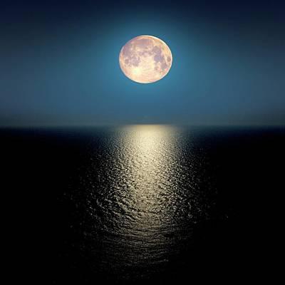 Moon Over The Ocean Print by Detlev Van Ravenswaay