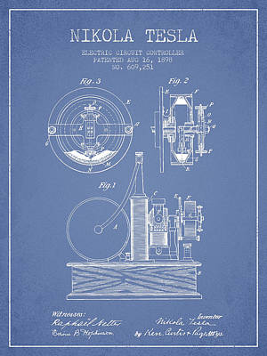 Circuit Drawing - Nikola Tesla Electric Circuit Controller Patent Drawing From 189 by Aged Pixel