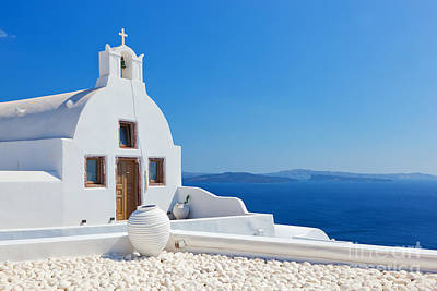 Mediterranean Photograph - Oia Town On Santorini Island Greece by Michal Bednarek