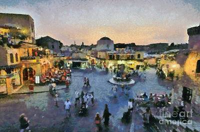 Restaurant Painting - Old City Of Rhodes by George Atsametakis