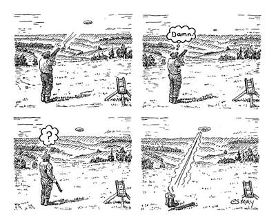 Panel Drawing - 4 Panels.  Man Shoots At A Grout Which Then Turns by Rob Esmay