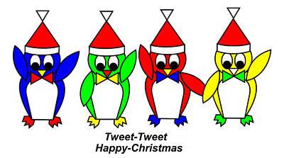 Digital Art - 4 Penguin Sons Of Santa Wish You A Merry Christmas by Asbjorn Lonvig