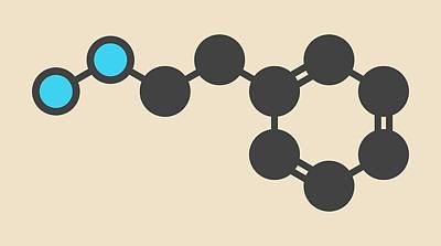 Phenelzine Antidepressant Molecule Print by Molekuul