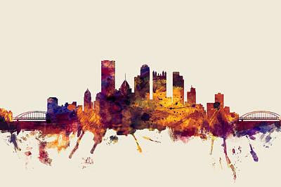 Pittsburgh Skyline Digital Art - Pittsburgh Pennsylvania Skyline by Michael Tompsett