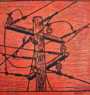 Powerlines Drawing - Power Lines by William Cauthern