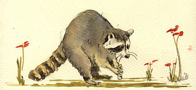 Raccoon  Print by Juan  Bosco