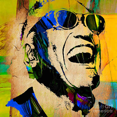 Ray Charles Collection Print by Marvin Blaine