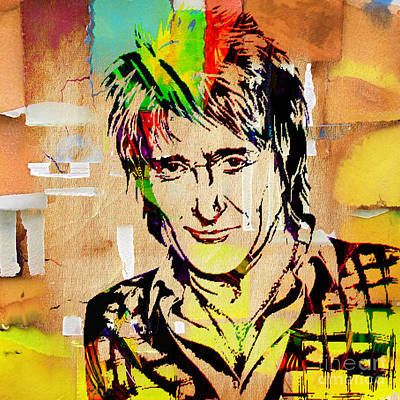 Celebrities Mixed Media - Rod Stewart Collection by Marvin Blaine