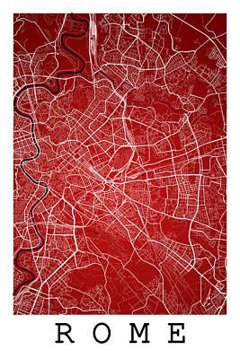 Map Digital Art - Rome Street Map - Rome Italy Road Map Art On Color by Jurq Studio