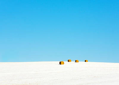 Light Blue Abstracts Photograph - 4 Round Bales by Todd Klassy