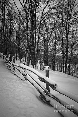 Rural Winter Scene With Fence Print by Elena Elisseeva
