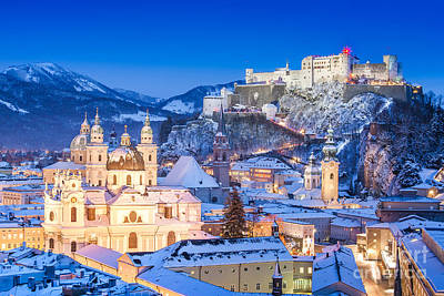 Panorama Photograph - Salzburg In Winter by JR Photography