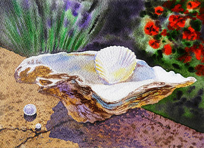 Sea Shell Fine Art Painting - Sea Shell And Pearls Morning Light by Irina Sztukowski