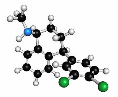 Sertraline Antidepressant Drug Molecule Print by Molekuul