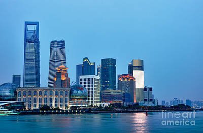 Shanghai Pudong Cityscape At Night Print by Fototrav Print