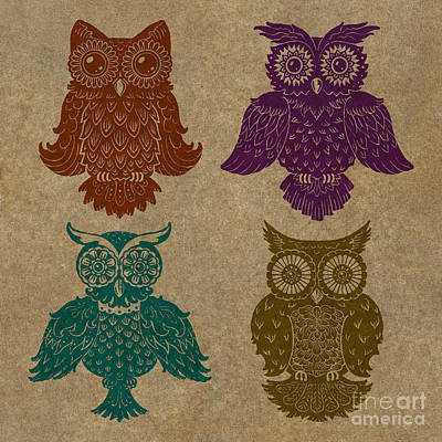 Lino Painting - 4 Sophisticated Owls Colored by Kyle Wood