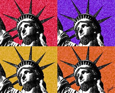 4 Starry Night Statue Of Liberty Print Original by Robert R Splashy Art Abstract Paintings