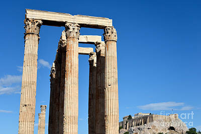 Olympian Photograph - Temple Of Olympian Zeus And Acropolis In Athens by George Atsametakis