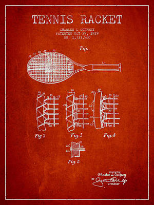Tennnis Racket Patent Drawing From 1929 Print by Aged Pixel
