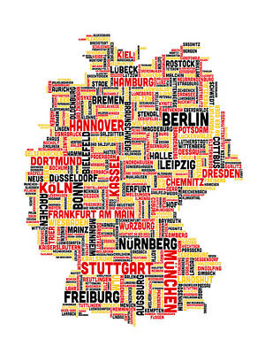 Typographic Digital Art - Text Map Of Germany Map by Michael Tompsett