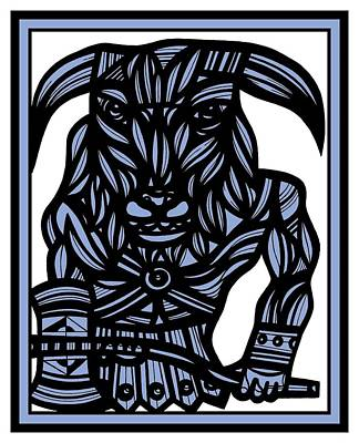 Minotaur Drawing - Mazer Minotaur Blue White Black by Eddie Alfaro