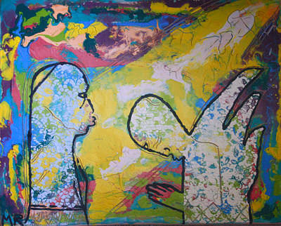 African Contemporary Ceramics Painting - The Annunciation by Gloria Ssali
