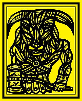 Minotaur Drawing - Ocasio Minotaur Yellow Black by Eddie Alfaro