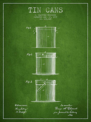 Tin Cans Patent Drawing From 1878 Print by Aged Pixel