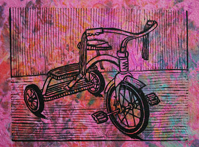 Lino Drawing - Tricycle by William Cauthern