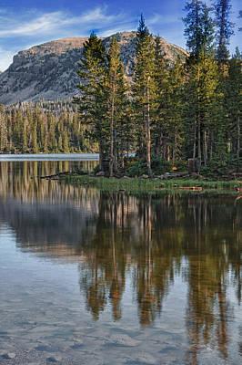 Mountain Reflection Lake Summit Mirror Photograph - Uinta Mountains Utah by Utah Images