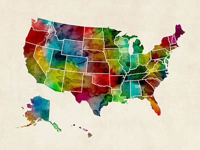 United States Watercolor Map Print by Michael Tompsett
