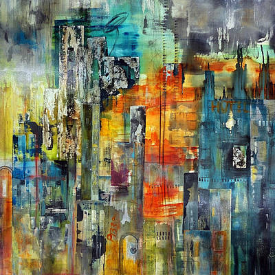 Moody Painting - Urban View by Katie Black