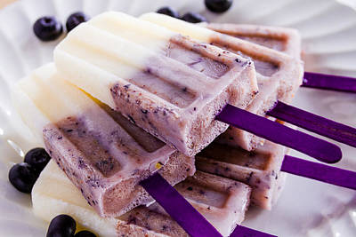 Sorbet Photograph - Vanilla And Blueberry Popsicles by Teri Virbickis
