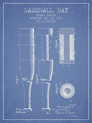 Vintage Baseball Bat Patent From 1919 Print by Aged Pixel