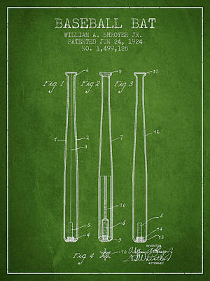 Vintage Baseball Bat Patent From 1924 Print by Aged Pixel